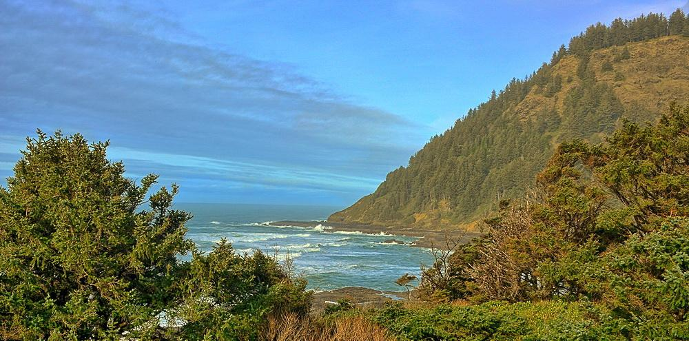 View of Cape Perpetua from the Visitors > Center.\Photo by Kirt Edblom.