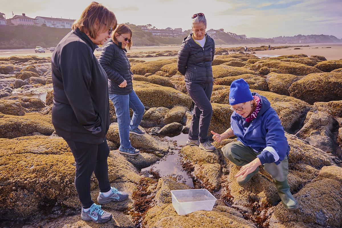 Athena Crichton (right) leads a recent Tidepool Clinic