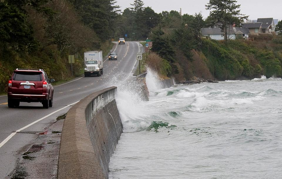 King Tide threatens Highway 101 at Waldport. Photo by Roy Lowe.