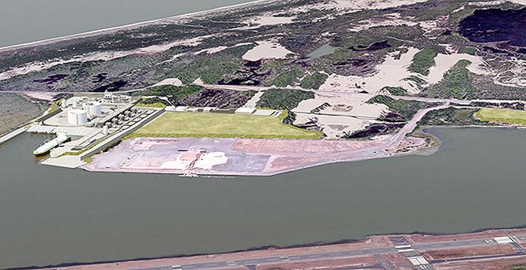 Artist's conception of the proposed Jordan Cove LNG terminal.\Image courtesy of JCEP.