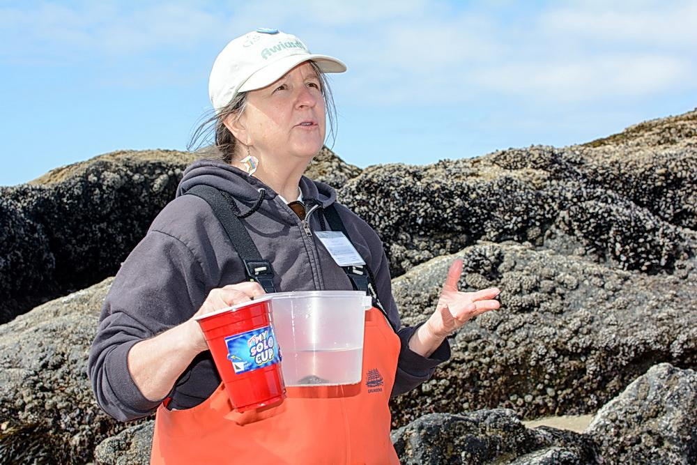 Fawn Custer, teaching tidepools.\Photo by Alex Derr.