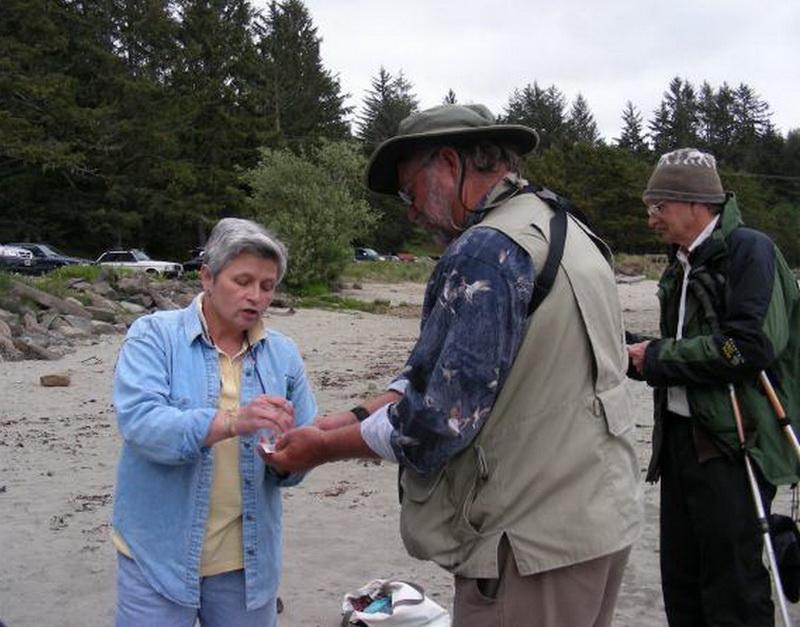 Marty Giles in the field, teaching.
